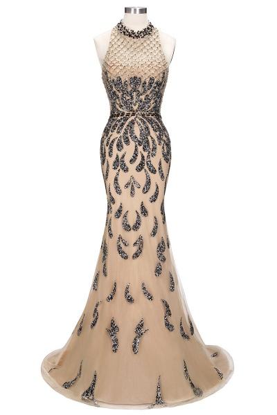 JIMENA | Mermaid Halter Floor Length Sequined Patterns Prom Dresses_8