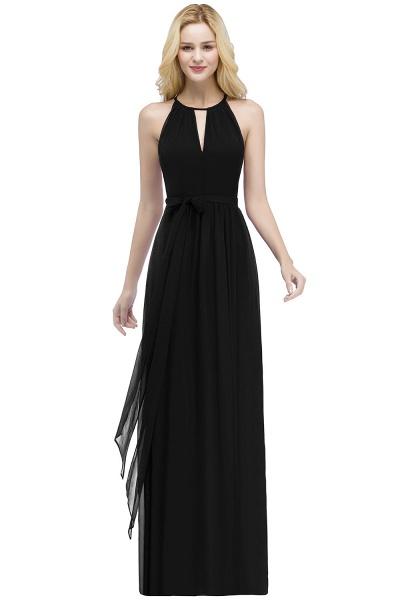 A-line Halter Floor Length Burgundy Bridesmaid Dresses with Bow Sash_6
