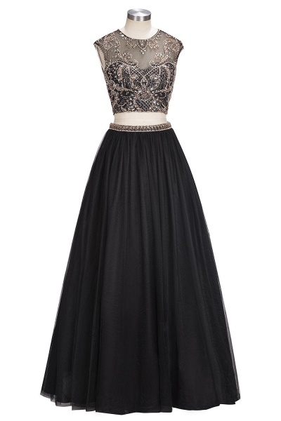 ROSITA | A-line Two-piece Floor Length Sleeveless Crystals Patterns Prom Dresses_5