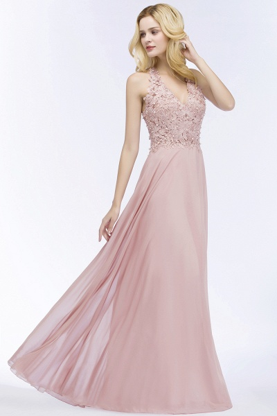 PAM | A-line V-neck Sleeveless Long Appliques Chiffon Bridesmaid Dresses_8