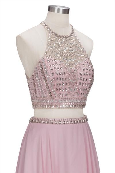 ROSETTA | A-line Two-piece Floor Length Crystals Beading Chiffon Prom Dresses_5