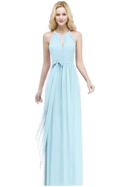 A-line Halter Floor Length Burgundy Bridesmaid Dresses with Bow Sash_3