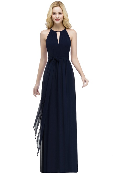 A-line Halter Floor Length Burgundy Bridesmaid Dresses with Bow Sash_5