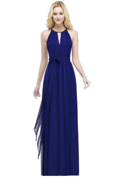 A-line Halter Floor Length Burgundy Bridesmaid Dresses with Bow Sash_4