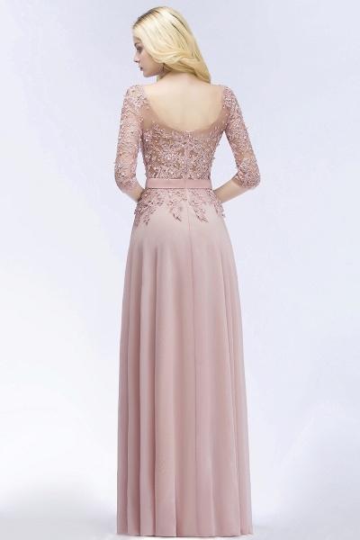 A-line Chiffon Appliques Jewel Half-Sleeves Floor-Length Bridesmaid Dresses with Sash_3