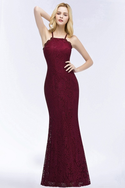 Mermaid Floor Length Halter Lace Burgundy Bridesmaid Dresses_1