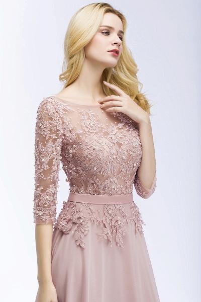 A-line Chiffon Appliques Jewel Half-Sleeves Floor-Length Bridesmaid Dresses with Sash_6