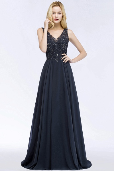 A-line Chiffon Appliques V-neck Sleeveless Floor-Length Bridesmaid Dresses with Crystals_53