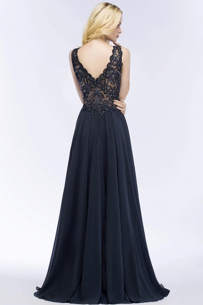 A-line Chiffon Appliques V-neck Sleeveless Floor-Length Bridesmaid Dresses with Crystals_54