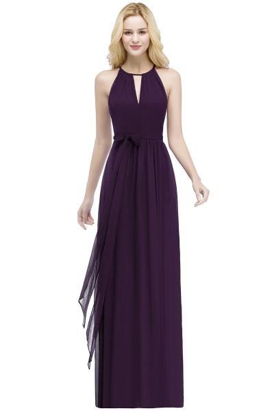 A-line Halter Floor Length Burgundy Bridesmaid Dresses with Bow Sash_2