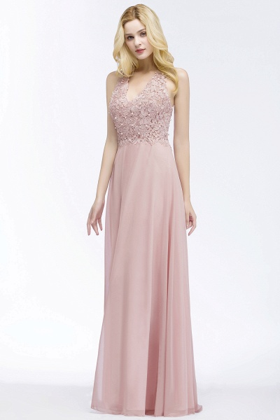 PAM | A-line V-neck Sleeveless Long Appliques Chiffon Bridesmaid Dresses_3