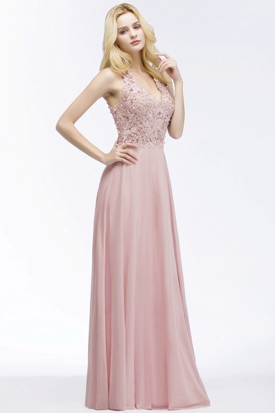 PAM | A-line V-neck Sleeveless Long Appliques Chiffon Bridesmaid Dresses_1