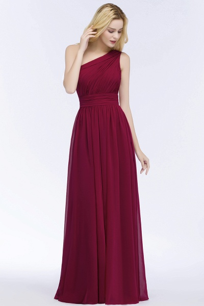 Elegant A-Line Chiffon One-Shoulder Sleeveless Ruffles Floor-Length Bridesmaid Dresses_3
