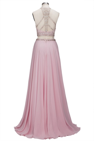ROSETTA | A-line Two-piece Floor Length Crystals Beading Chiffon Prom Dresses_3