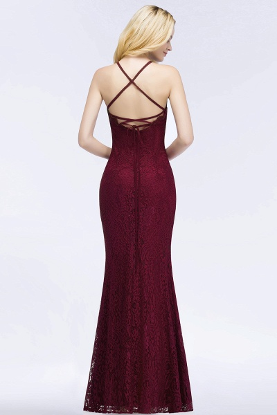 Mermaid Floor Length Halter Lace Burgundy Bridesmaid Dresses_2