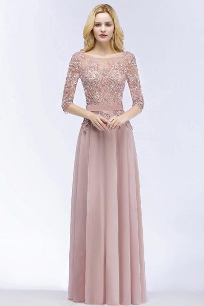 A-line Chiffon Appliques Jewel Half-Sleeves Floor-Length Bridesmaid Dresses with Sash_1