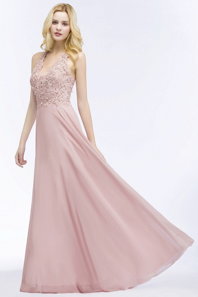 PAM | A-line V-neck Sleeveless Long Appliques Chiffon Bridesmaid Dresses_7