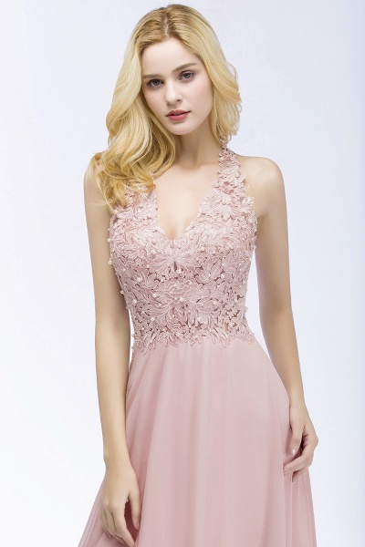 PAM | A-line V-neck Sleeveless Long Appliques Chiffon Bridesmaid Dresses_4