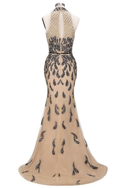 JIMENA | Mermaid Halter Floor Length Sequined Patterns Prom Dresses_6