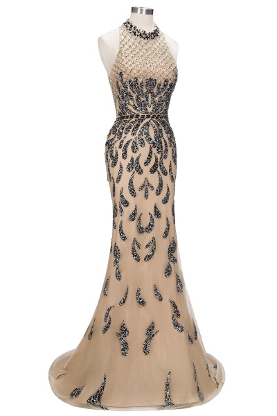 JIMENA | Mermaid Halter Floor Length Sequined Patterns Prom Dresses_4