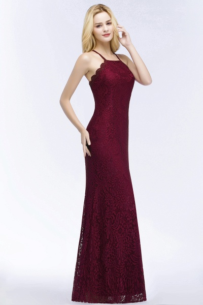 Mermaid Floor Length Halter Lace Burgundy Bridesmaid Dresses_3
