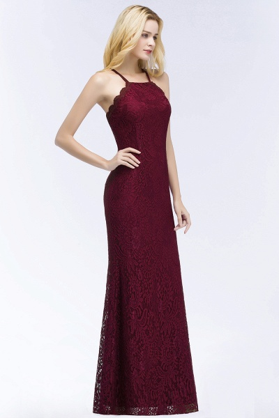 Mermaid Floor Length Halter Lace Burgundy Bridesmaid Dresses_5