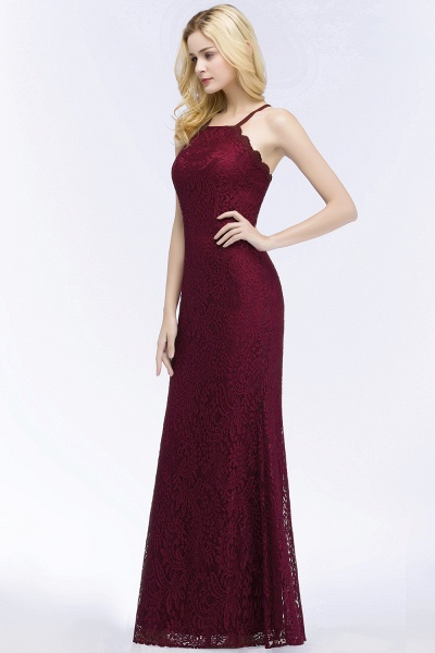 Mermaid Floor Length Halter Lace Burgundy Bridesmaid Dresses_6