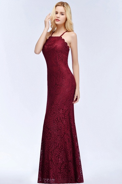 Mermaid Floor Length Halter Lace Burgundy Bridesmaid Dresses_7