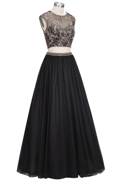 ROSITA | A-line Two-piece Floor Length Sleeveless Crystals Patterns Prom Dresses_1