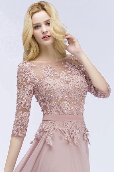A-line Chiffon Appliques Jewel Half-Sleeves Floor-Length Bridesmaid Dresses with Sash_5