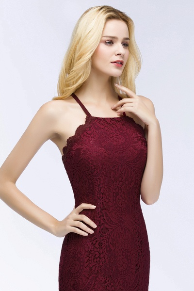 Mermaid Floor Length Halter Lace Burgundy Bridesmaid Dresses_4