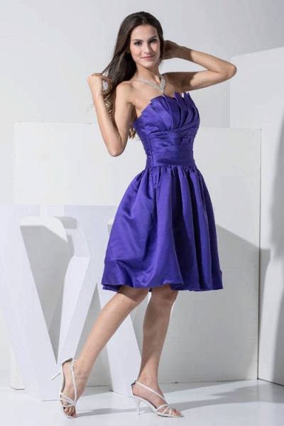 KINLEY | A Type A-Neck Chiffon Blue Bridesmaid Dress with Fold_7