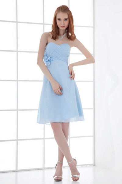 Sleek Strapless Chiffon A-line Bridesmaid Dress_1