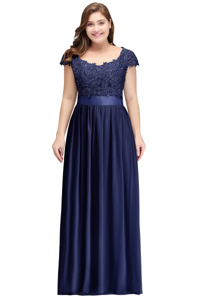 HOLLAND | A-Line Scoop Floor Length Cap Sleeves Appliques Silver Plus Size Evening Dresses with Sash_4