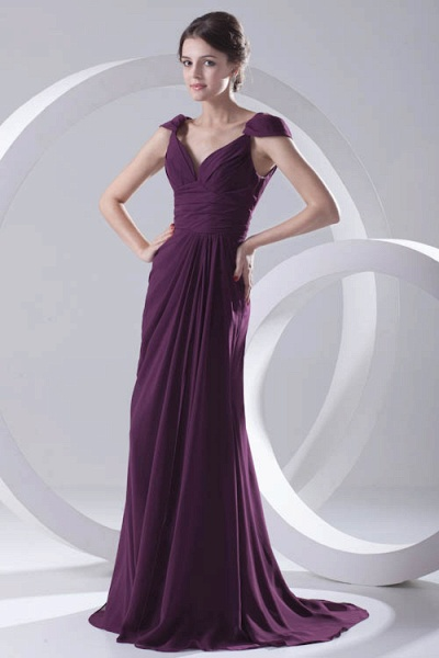 Glorious V-neck Stretch Satin A-line Bridesmaid Dress_1