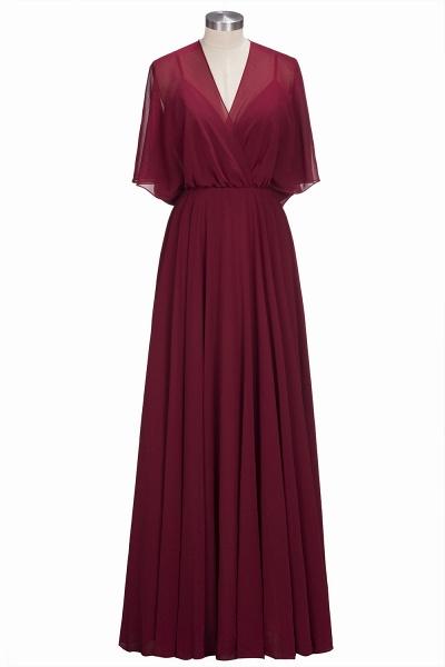 OLGA | A-line V-neck Floor Length Burgundy Chiffon Bridesmaid Dresses_1