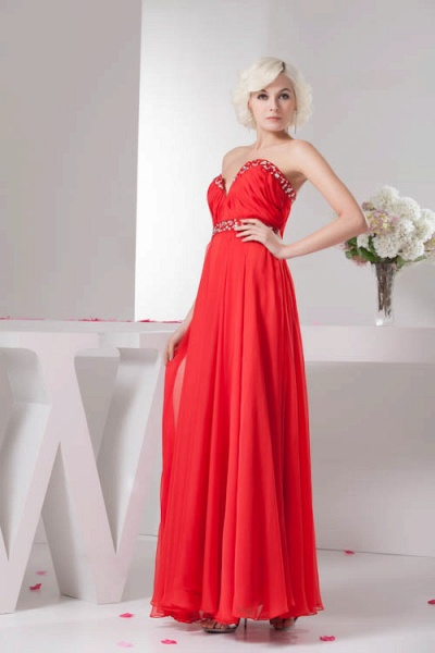 KYLA | A Type V-Neck Red Chiffon Bridesmaid Dress with Rhinestone_5
