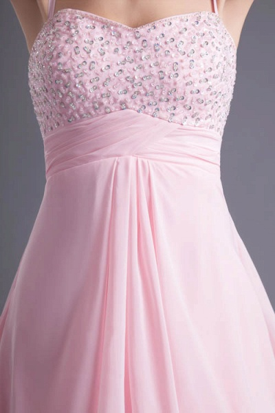 LEA | A Type Heart-shaped Short Before Long Sleeveless Chiffon Candy Pink Bridesmaid Dress with Fold_6