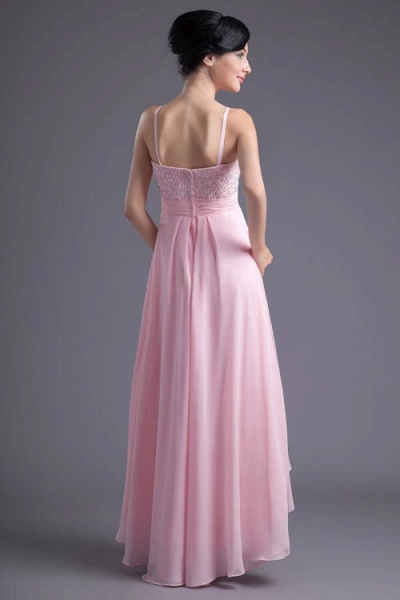 LEA | A Type Heart-shaped Short Before Long Sleeveless Chiffon Candy Pink Bridesmaid Dress with Fold_9