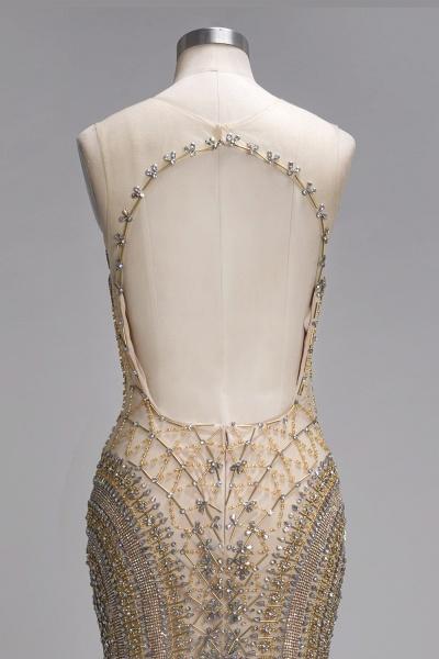 PRISCILLA | Mermaid Sleeveless Floor Length Backless Prom Dresses with Crystals Beading_5