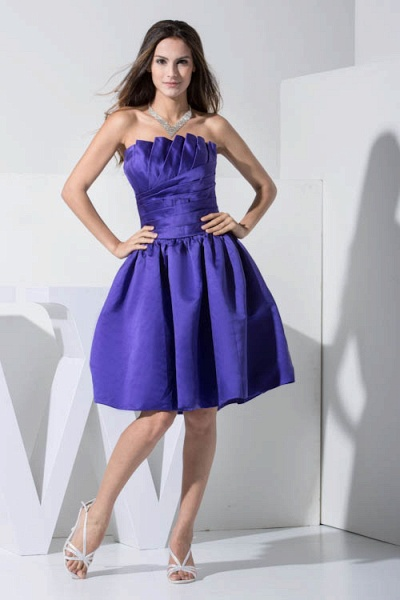 KINLEY | A Type A-Neck Chiffon Blue Bridesmaid Dress with Fold_1