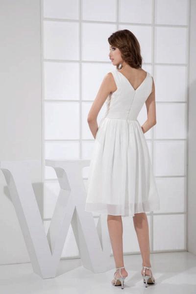 KIMBERLY | A Type V-Neck Chiffon White Bridesmaid Dress with Fold_3