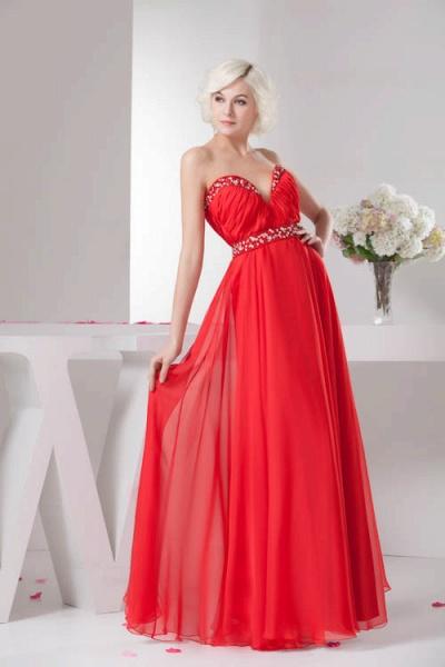 KYLA | A Type V-Neck Red Chiffon Bridesmaid Dress with Rhinestone_8