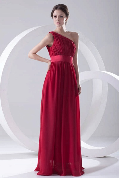Excellent One Shoulder Chiffon A-line Bridesmaid Dress_4