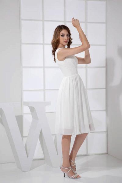 KIMBERLY | A Type V-Neck Chiffon White Bridesmaid Dress with Fold_5