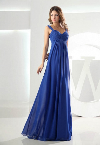 KILEY | A Type Heart Collar Chiffon Bridesmaid Dress with Fold_4