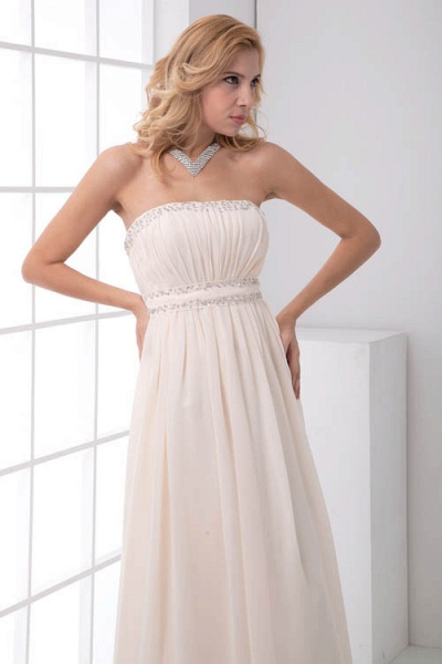 LEIA | A Type Bra Long Sleeveless Chiffon White Bridesmaid Dress with Small folds_5