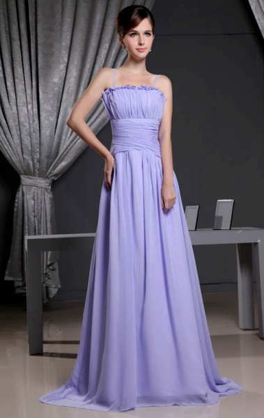 A Type Spaghetti Straps Chiffon Bridesmaid Dress with Fold_1