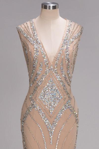 NAN | Mermaid V-neck Floor Length Sleeveless Sequins Prom Dresses_7
