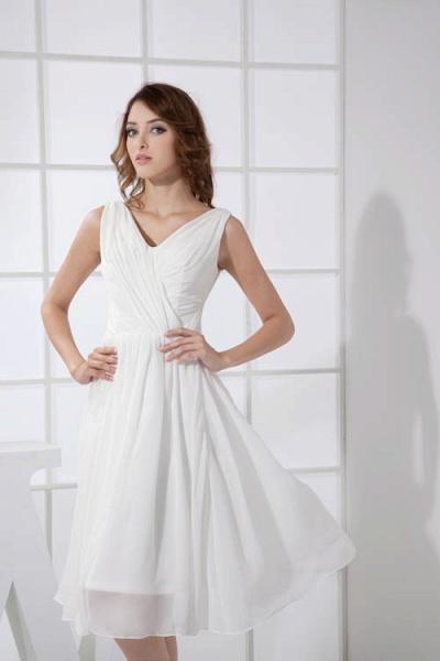 KIMBERLY | A Type V-Neck Chiffon White Bridesmaid Dress with Fold_7